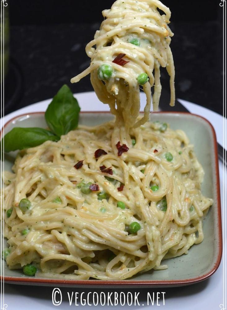 basil pesto peas spaghetti. one pot italian vegetarian meal using homemade pesto sauce. instant pot pressure cooker, stove top methods given.