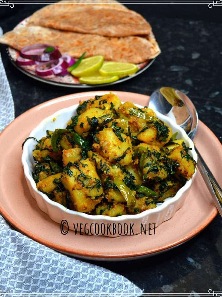 Aloo Methi Sabzi / Potato & Fenugreek Stir Fry. North Indian style Vegan,Simple curry with methi leaves. stove top, instant pot methods given