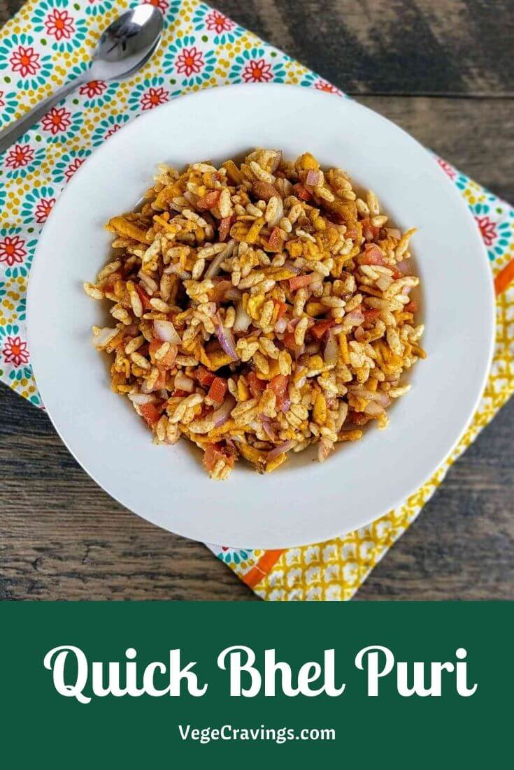 Quick and easy Bhel Puri recipe flavored with tomato ketchup. No need to make green chutney & tamarind chutney to enjoy this delicious snack!