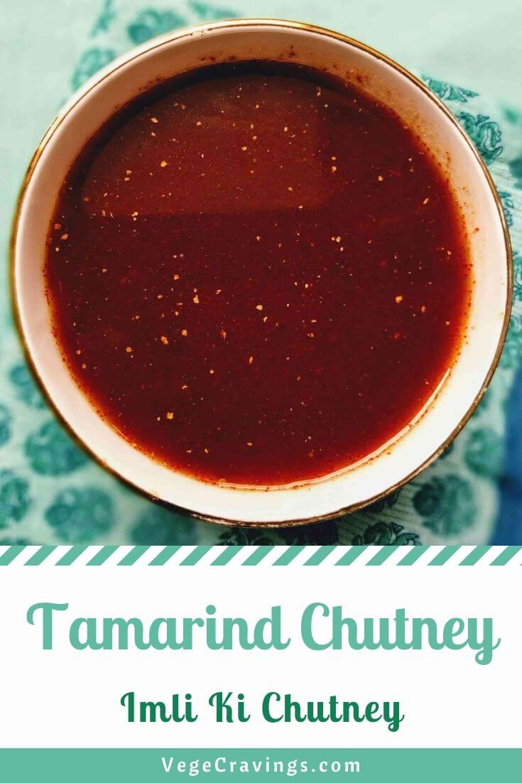 Tamarind Chutney is a sweet and tangy sauce made from tamarind extract, ginger and spices simmered in a sugar base.
