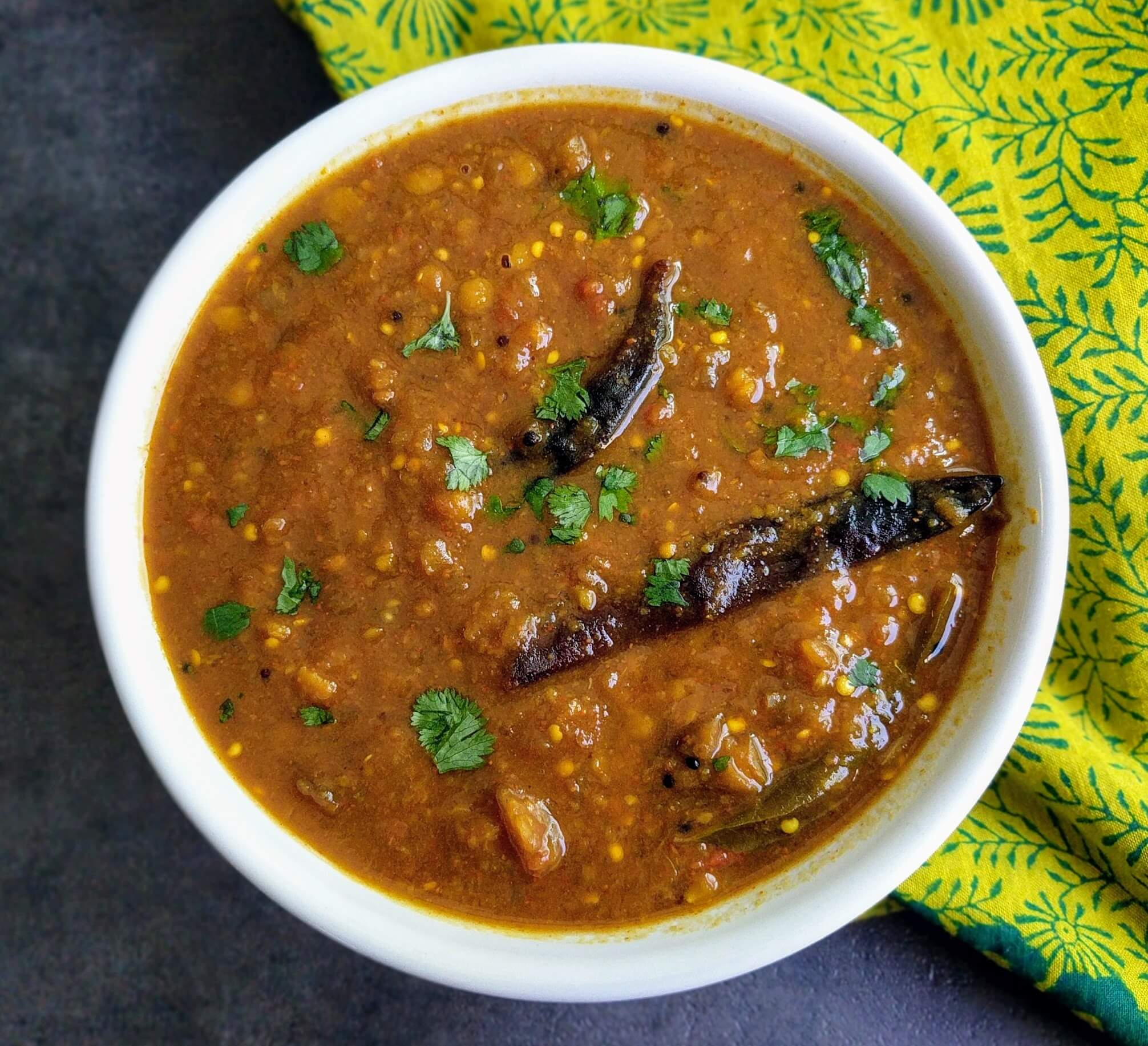 Kathirikai Sambar or Brinjal Sambar Recipe Step By Step Instructions