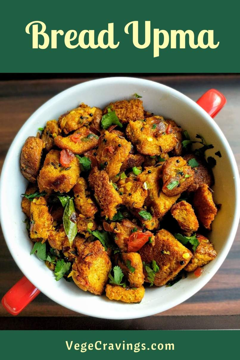 Bread Upma is a delicious & spicy snack made by cooking bread in a tempering made of onion, tomato, green chillies, curry leaves and spices.