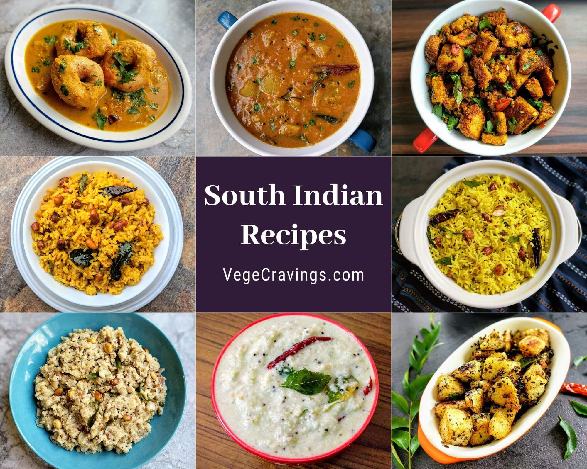 South Indian Recipes generally refer to a myriad of dishes cooked in the Southern states of India like Dosas, Idlis, Uttapams, Upmas, Sambar, Chutneys, Rasam etc. South Indian food strikes a good balance of simplicity, nutrition & flavor. See our collection of delicious South Indian recipes.