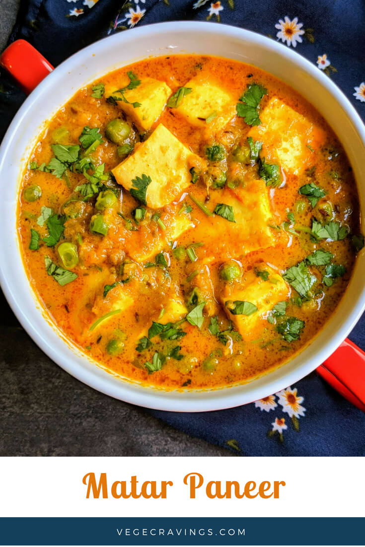Matar Paneer is a delicious combo of paneer cubes (Indian Cottage Cheese) with fresh peas cooked in a creamy, spicy and tangy gravy.