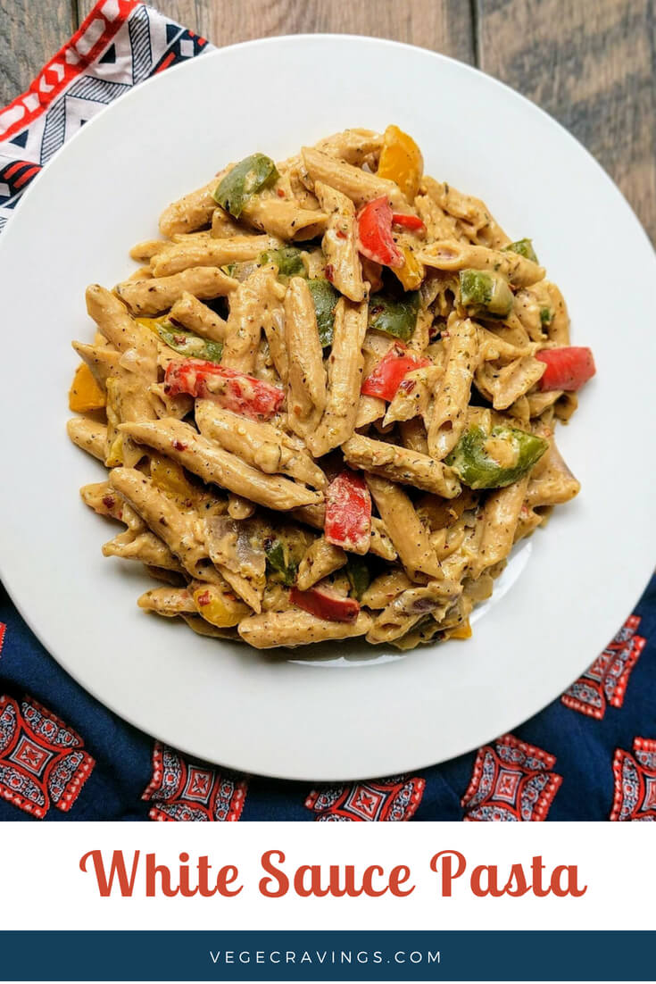 White Sauce Pasta is a perfect medley of aromatic herbs and flavors, sautéed colorful vegetables and a creamy pasta.