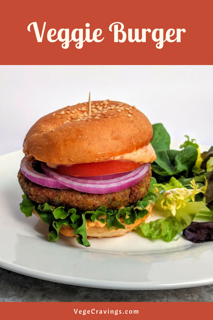 Veggie Burger is made with a delicious Indian Aloo Tikki patty made of spiced mashed potatoes & mixed vegetables along with a tangy dressing.