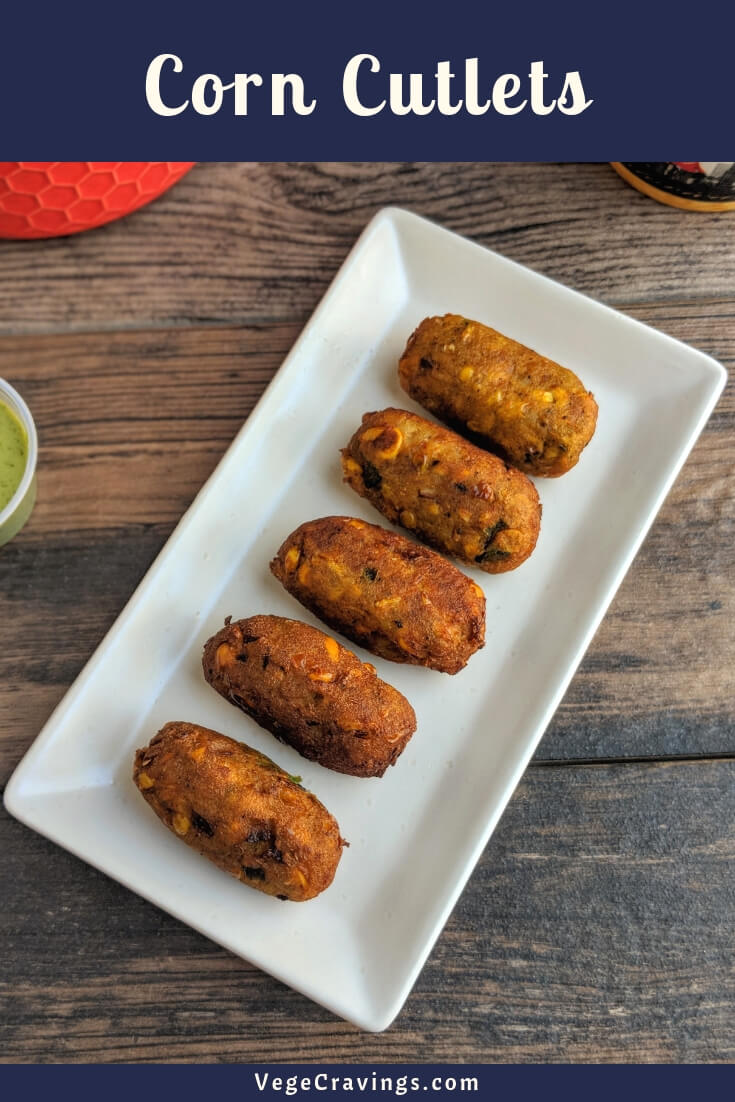 Corn Cutlet or Corn Kebab is a crispy and delicious snack made by deep frying a mixture of spiced sweet corn and potatoes.