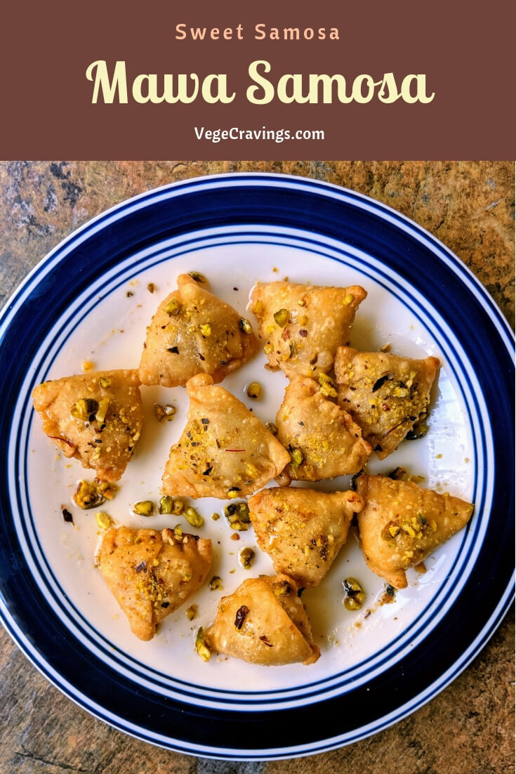 Mawa Samosa is a delicious sweet with a crispy outer crust, stuffed with a sweet filling, traditionally made during Indian festivals.
