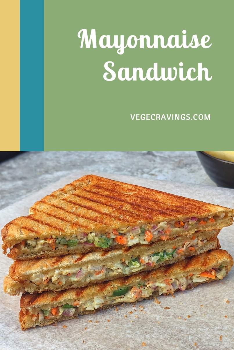 Mayonnaise sandwich is a light, crunchy and delicious sandwich made with a lightly seasoned filling of vegetables mixed with mayonnaise.