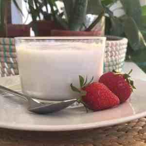 Crème dessert à la noix de coco et fraises du Québec