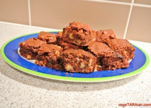 Vegan double choc brownies