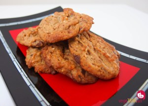 Peanut butter cookies with dark choc chunks