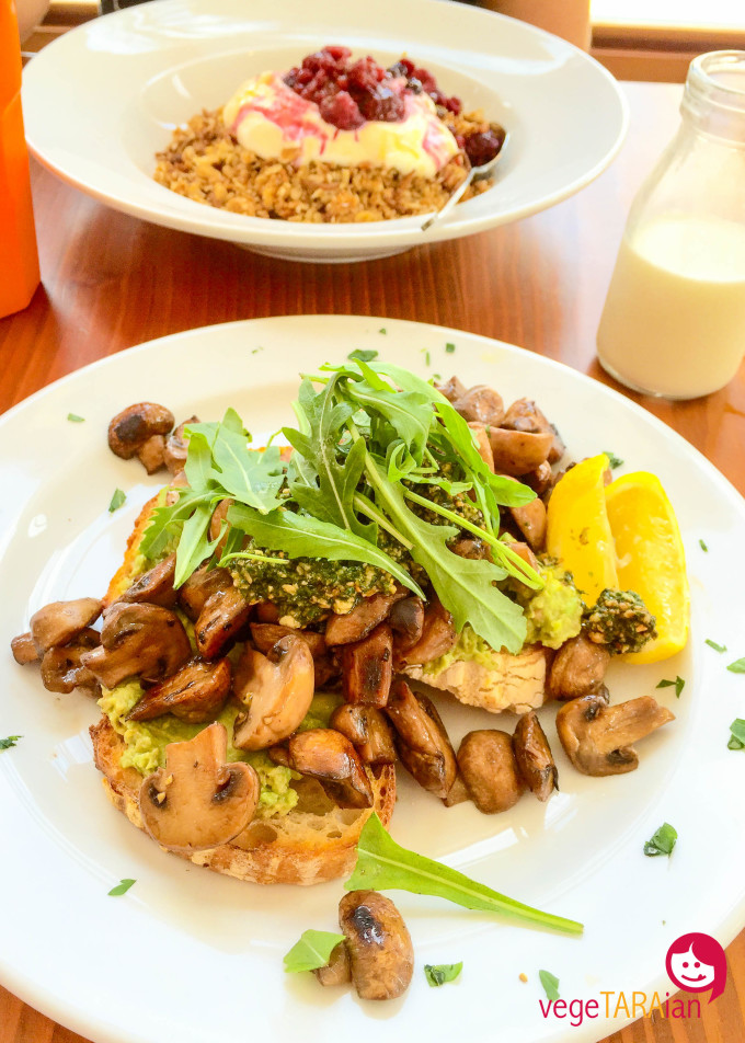 Muesli with yoghurt and fruit and mushrooms with avocado and pesto at Pilgrims, Cronulla