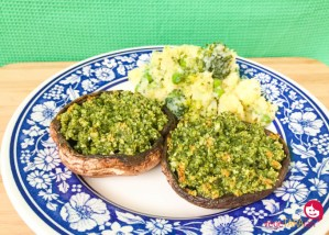 Portobello mushrooms with pesto and veg mash