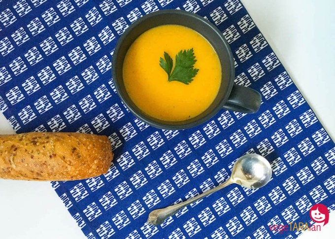 Maple roasted pumpkin soup made in the Cuisine Companion