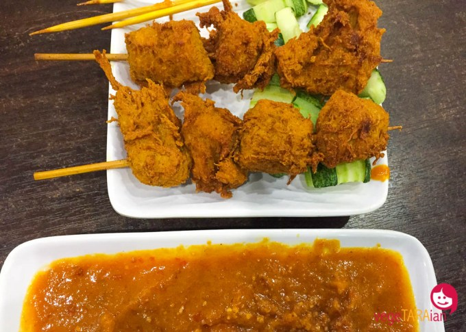 Satay sticks at Luk Yea Yan vegetarian restaurant, Penang Malaysia