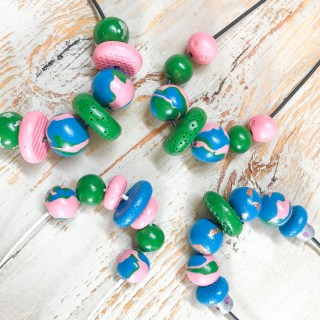 Polymer-clay-necklace-green-blue-pink