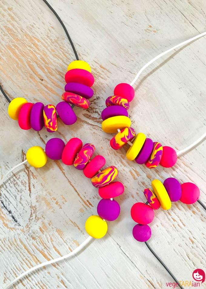 Polymer-clay-necklace-pink-purple-yellow