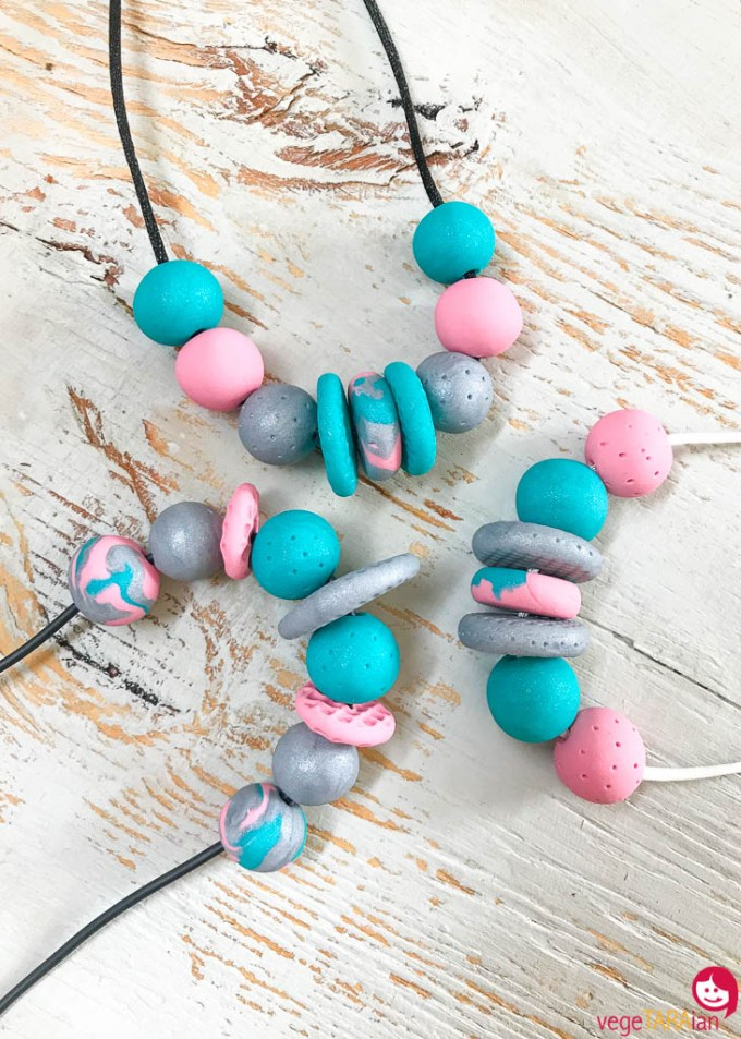Polymer-clay-necklace-pink-teal-grey