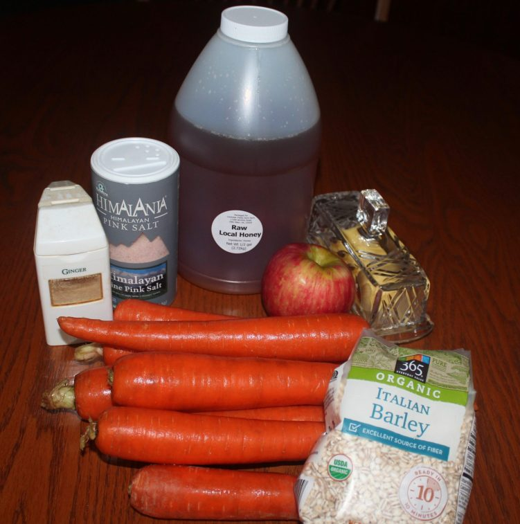 Carrot Tzimmes ingredients from recipe by Vegetarian Atlas.