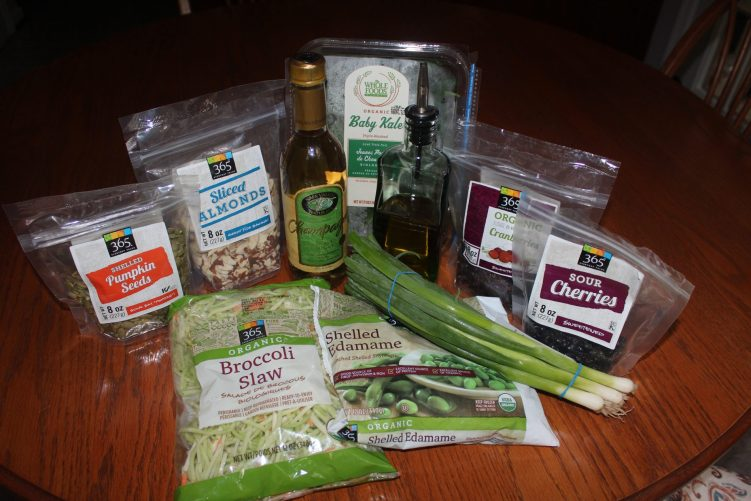 Ingredients for great green salad slaw from recipe by Vegetarian Atlas.