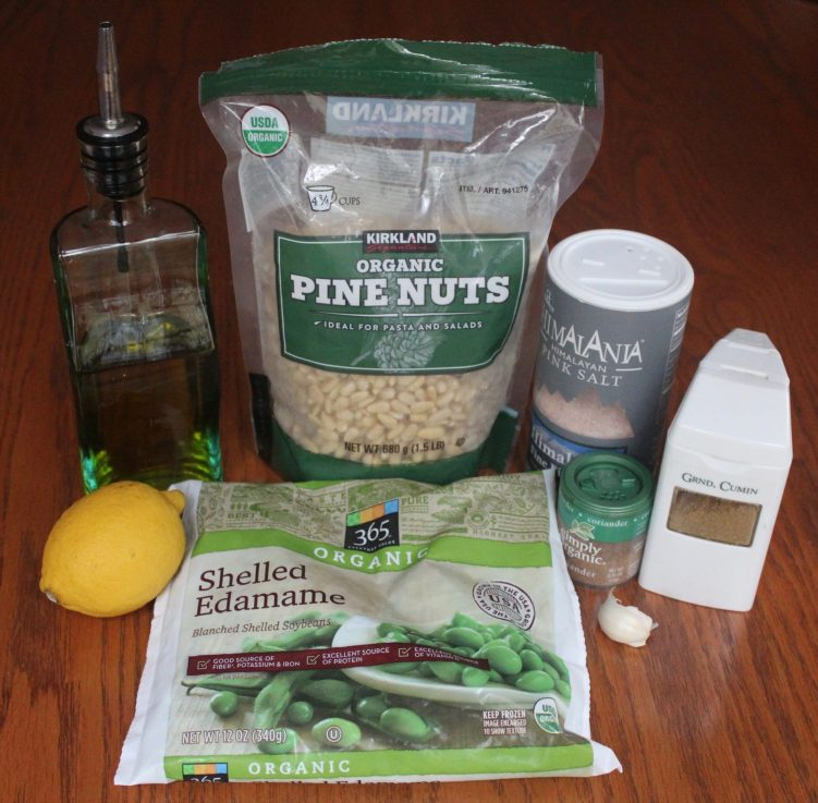 Ingredients for edamame pine nut spread
