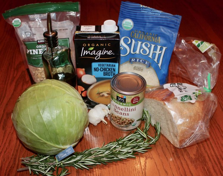 Ingredients for bean, rice and cabbage bowl