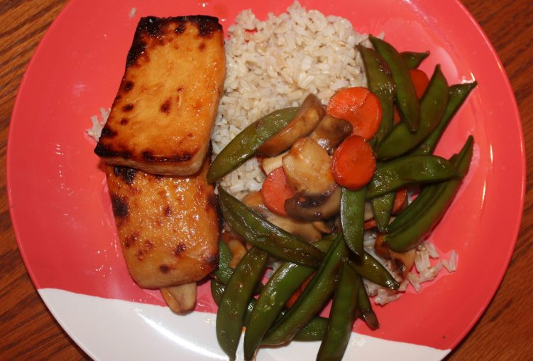 Maple Glazed broiled tofu stir fry