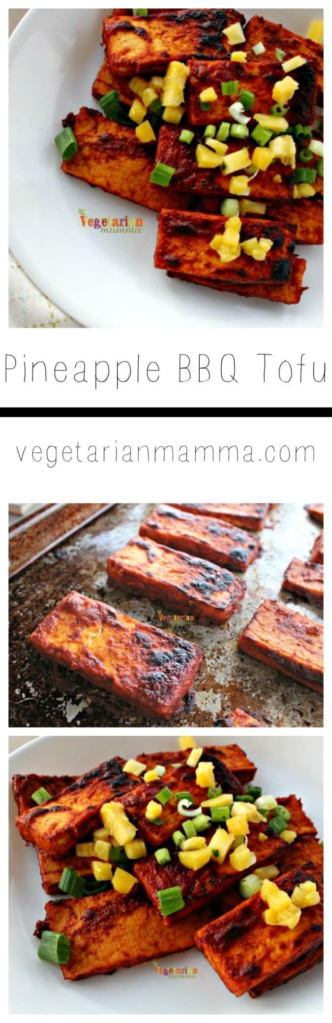Pineapple BBQ Tofu @vegetarianmamma.com #tofu #pineapple #broil #vegetarian #BBQ
