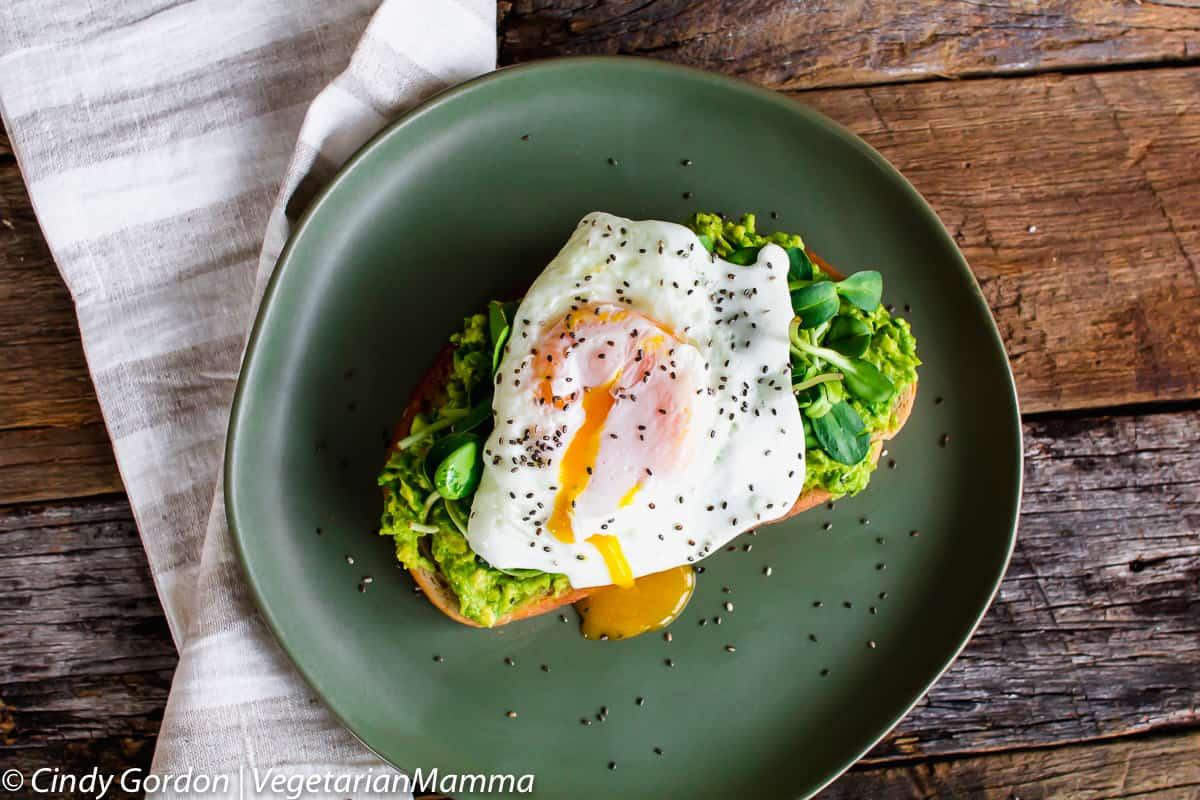 Avocado Toast with Fried Egg on top with a plate