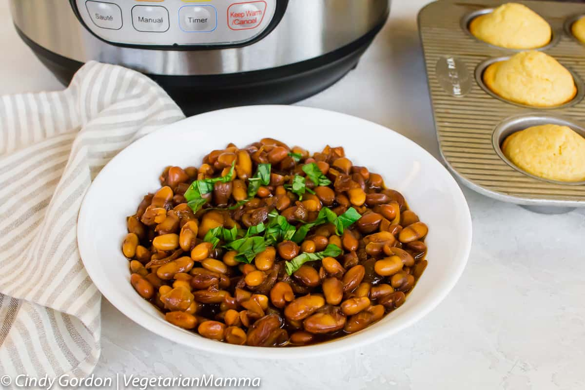 bowl of Instant Pot Baked Beans