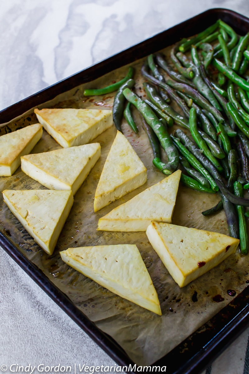 Sheet Pan Lemon Tofu and Beans is a delicious vegetarian meal.