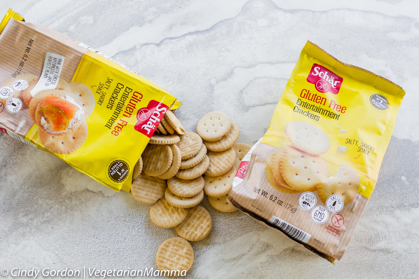two packages of Schar Entertainment Crackers