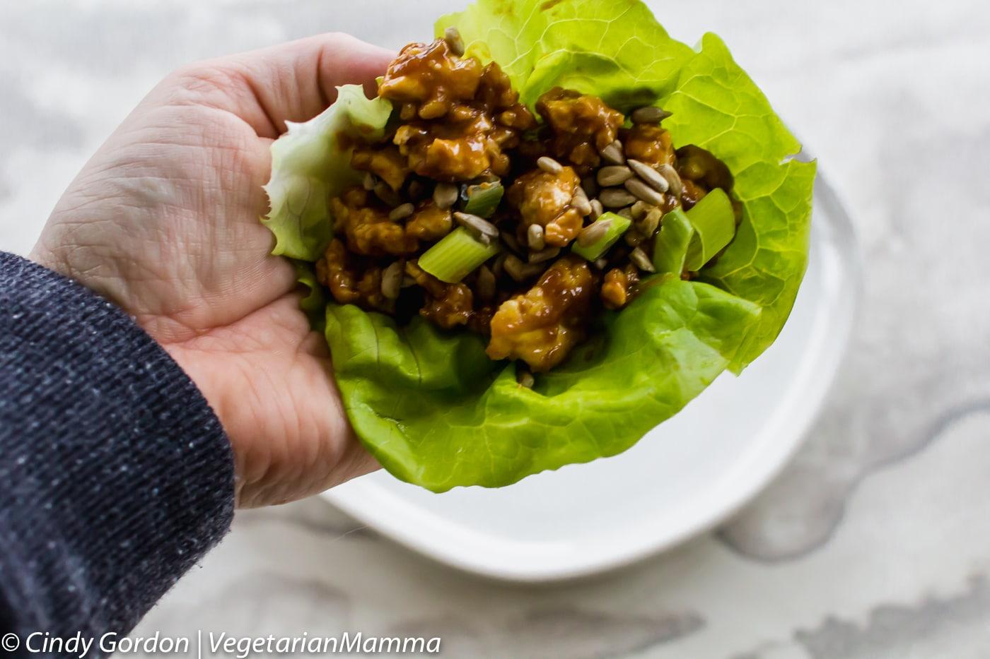 hand holding a vegetarian Thai Lettuce Wrap
