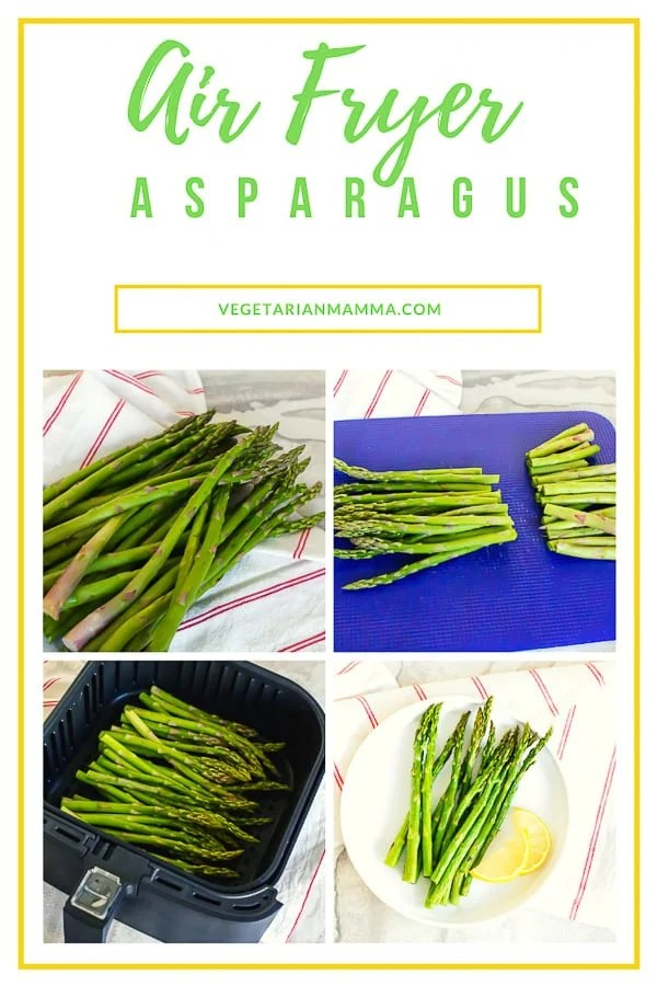 Air Fryer Asparagus is a low carb and keto friendly option for your family. This easy to make air fryer recipe will be a colorful side dish addition to your next meal. #airfryer #airfryervegetable