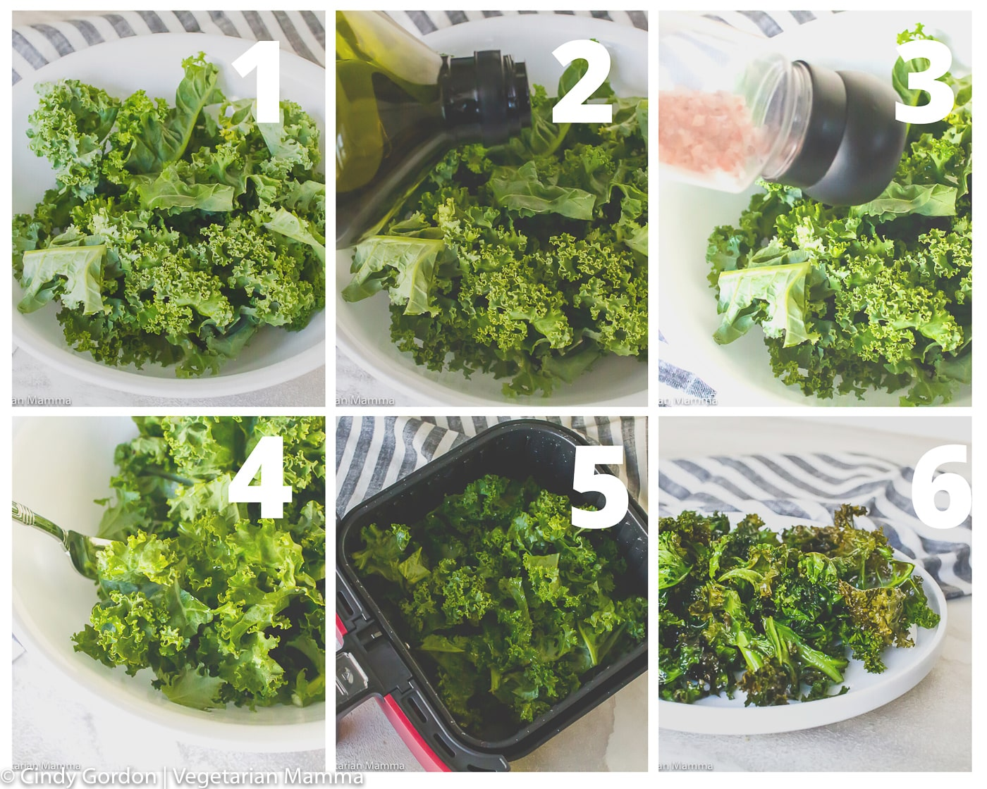 kale chips collage of picture instructions