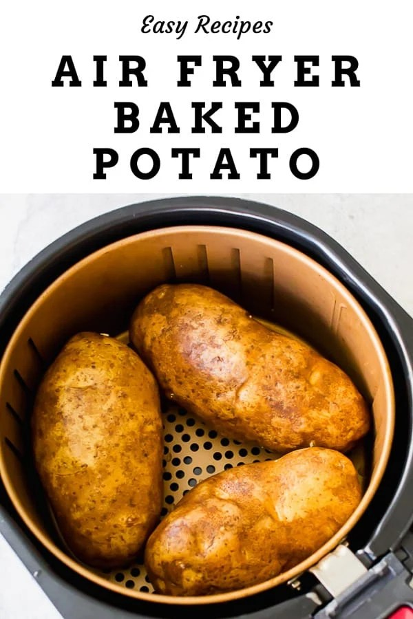 This Air Fryer Baked Potato recipe is a simple, yet quick and easy way to prepare your baked potatoes. No need to heat your oven for this job, the air fryer can do it. You will fall in love with these air fried baked potatoes. #airfryer #airfryerrecipes #airfryerbakedpotato #bakedpotato