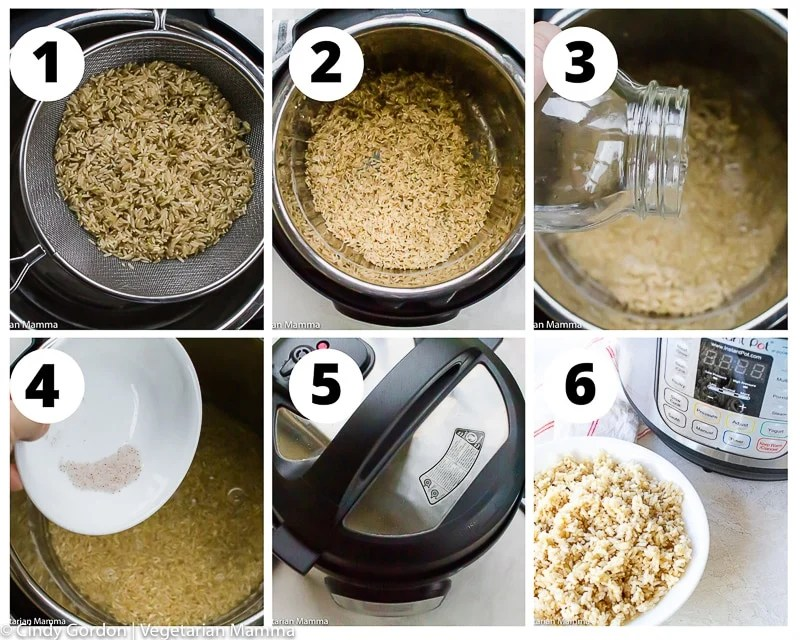 a collage of six photos showing instructions for cooking brown rice in an instant pot
