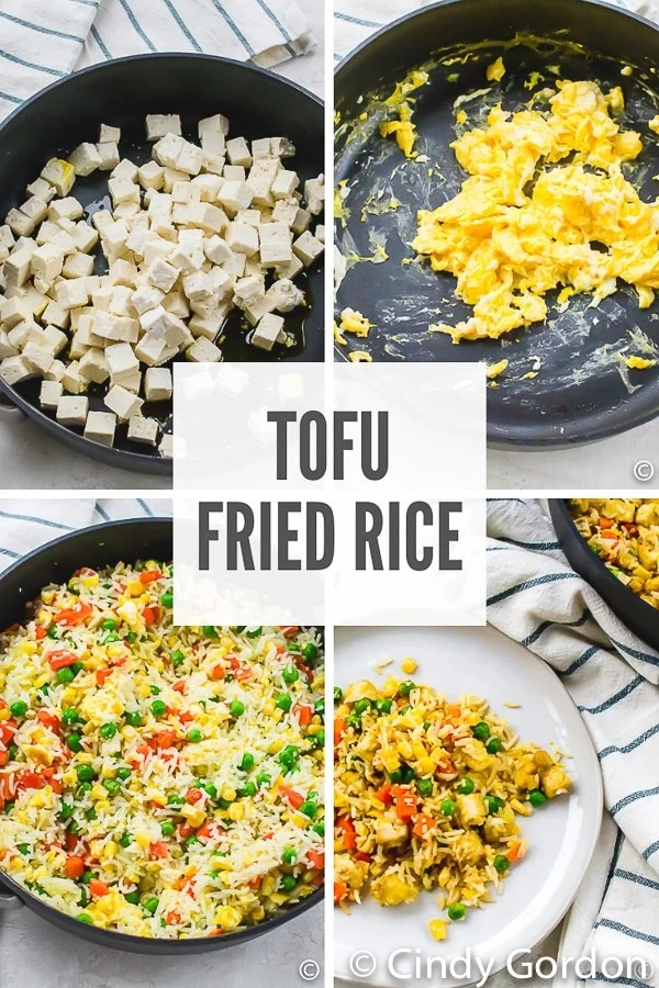 photo collage of four steps to make tofu fried rice.