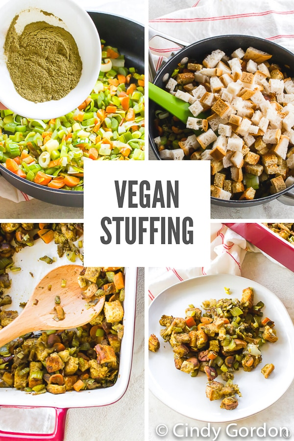 This #VeganStuffing is the perfect holiday side dish! Packed with carrots, leeks, and celery, it will impress even your meat-eating family! #vegan #holidays