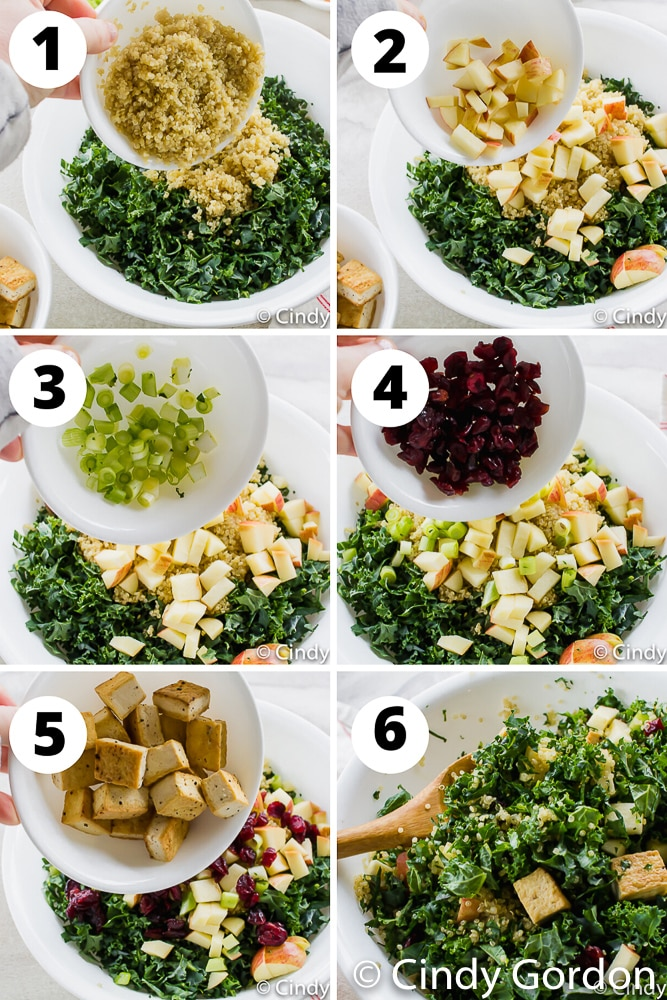 steps to make fried tofu in a kale, apple, and cranberry salad