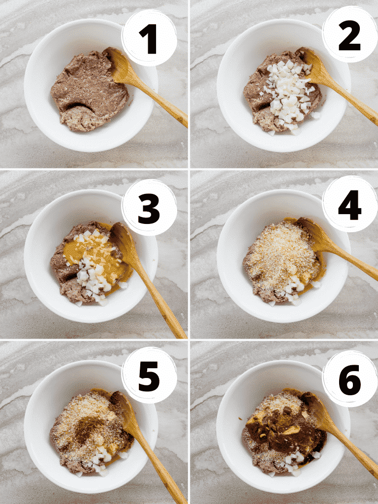 Collage of steps to mix together a vegan Beyond Meat meatloaf