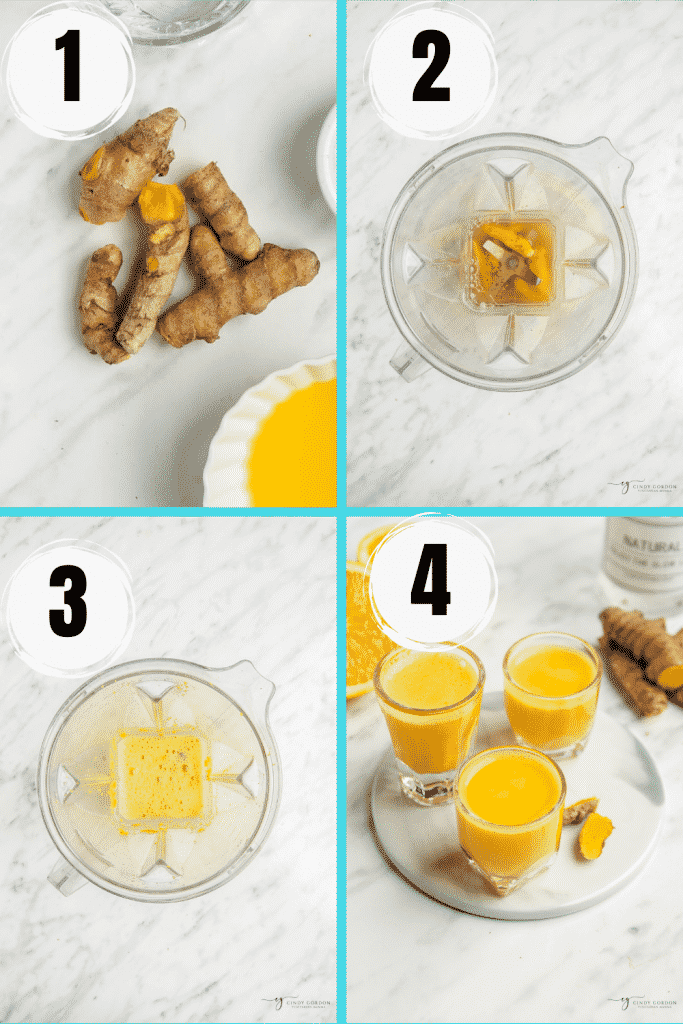 4 step picture collage showing how to make turmeric shot. Peel fresh turmeric, put ingredients in blender and enjoy