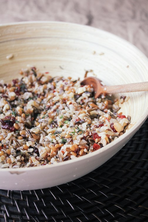 Wild Rice and wheatberry grain salad