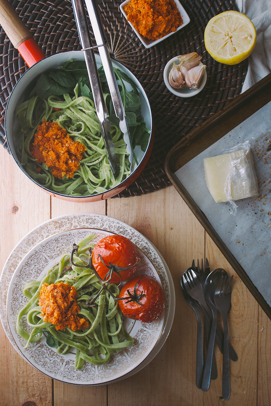 Fresh Spinach Pasta with Roasted Carrot Almond Pesto