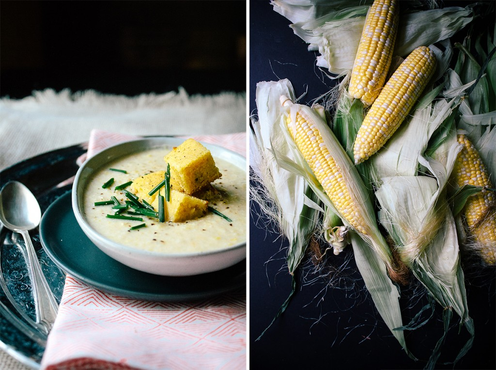 Vegan Corn Cream Soup With Cornbread Croutons