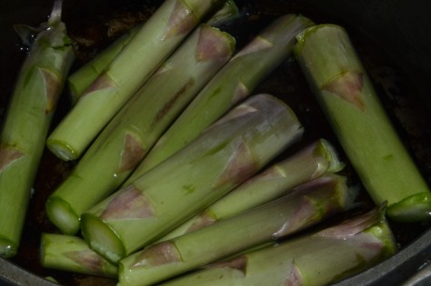 I boiled the base of the asparagus stalks in a little water.