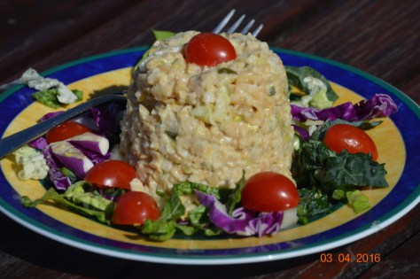 No Tuna Salad, all plated up and pretty. It would be great as part of a Stuffed Juicy Tomato dish when the tomatoes come out this summer.