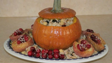 Vegan Stuffed Pumpkin -- happy for you and happy for our turkey friends!
