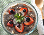 chia seed breakfast pudding with fruit on top